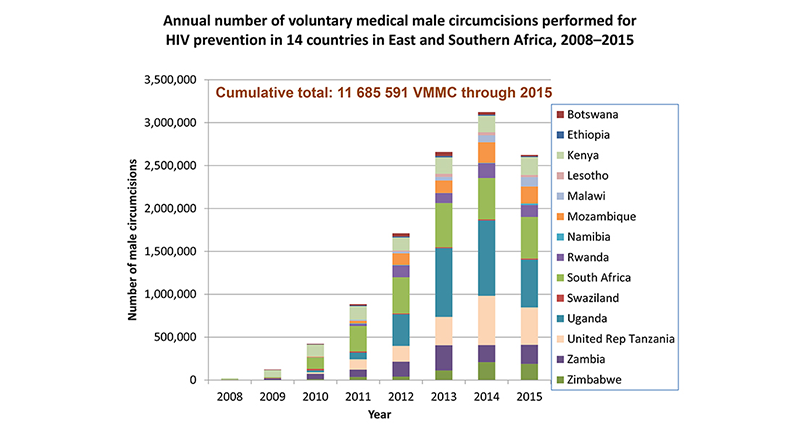 Annual number of voluntary medical male circumcisions performed for HIV prevention in 14 countries in East and Southern Africa, 2008-2015