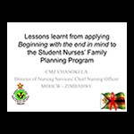 Lessons from Student Nurses' FP Program in Zimbabwe by Cynthia Chasokela, MOHCW